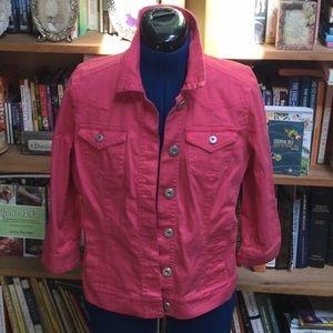 Bandolino SZ S Pink Denim Stretch Jean Jacket (H)